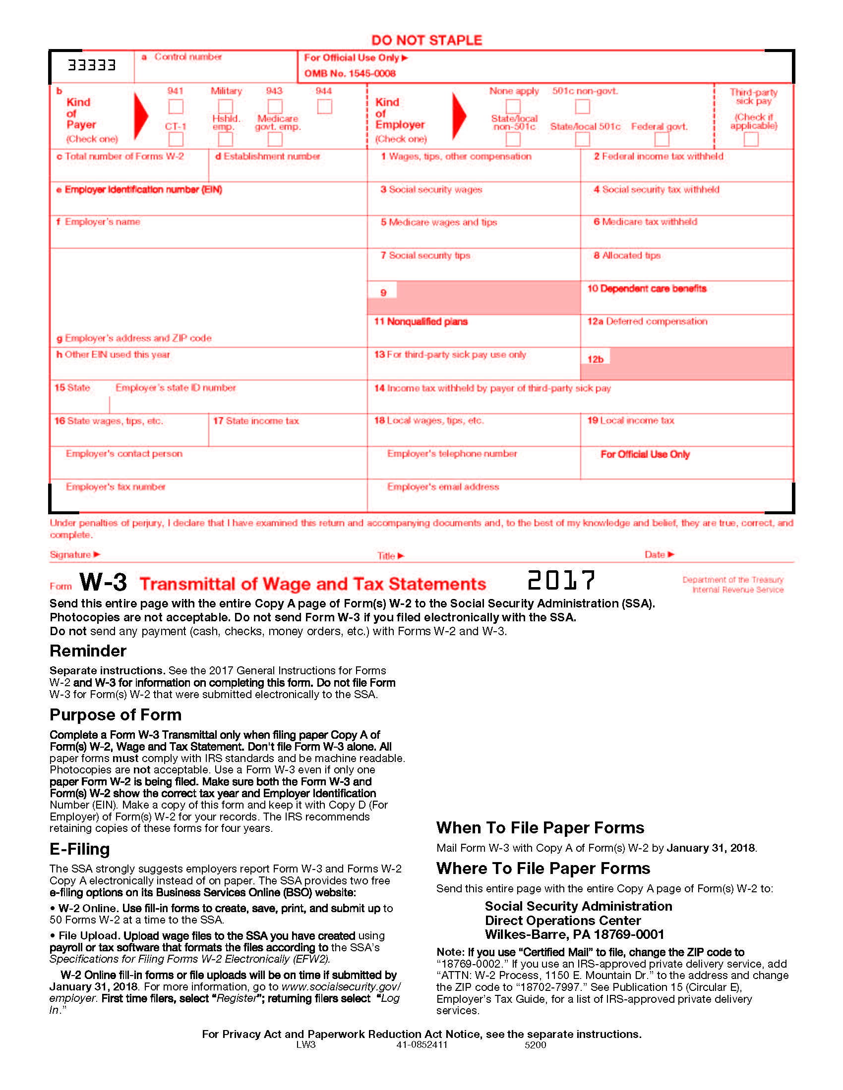 W-3 Laser Transmittal of Income