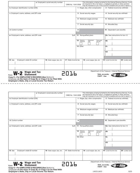 W2 Form Free 2016