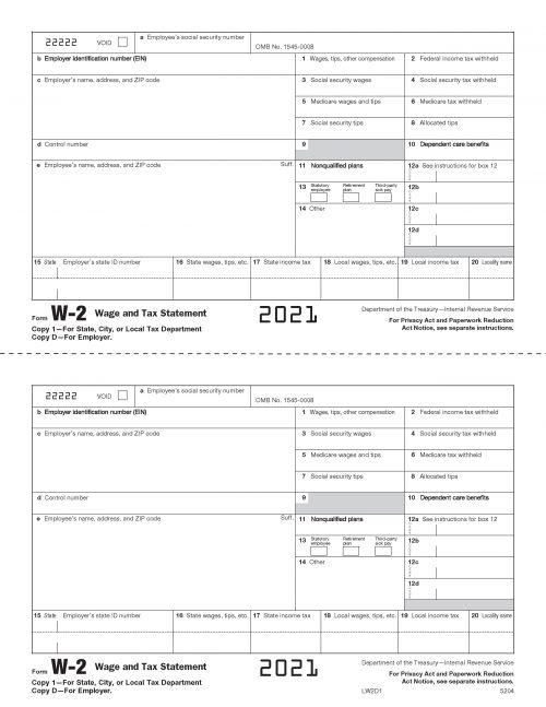 Form W-2 - LW2D1 2021