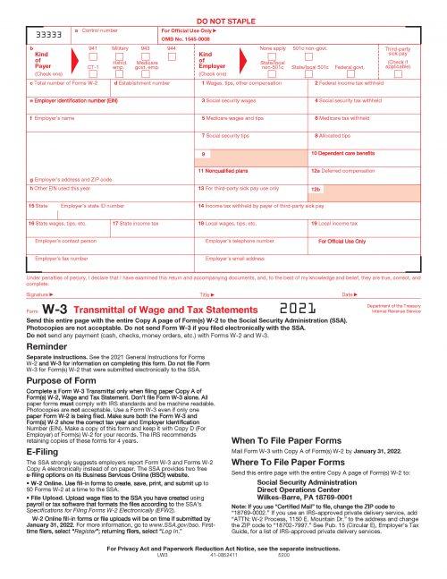 Form W3 - LW3 2021