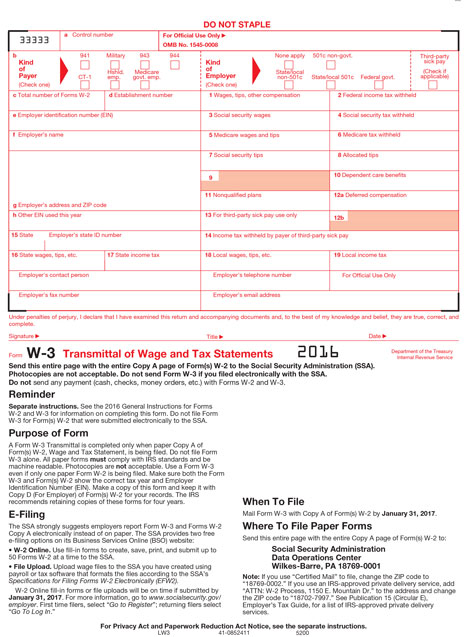 Home / 2016 Tax Forms / W-3 Tax Forms / W-3 Laser Transmittal of ...