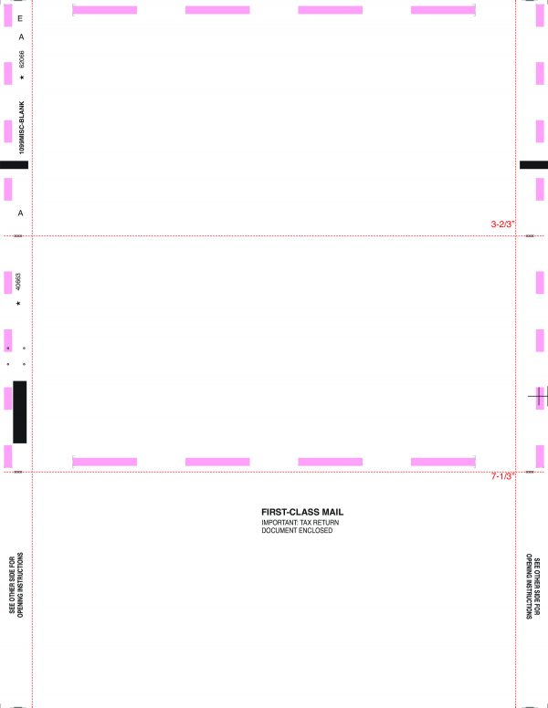 1099 Misc Blank Face Z Fold Instructions On Back