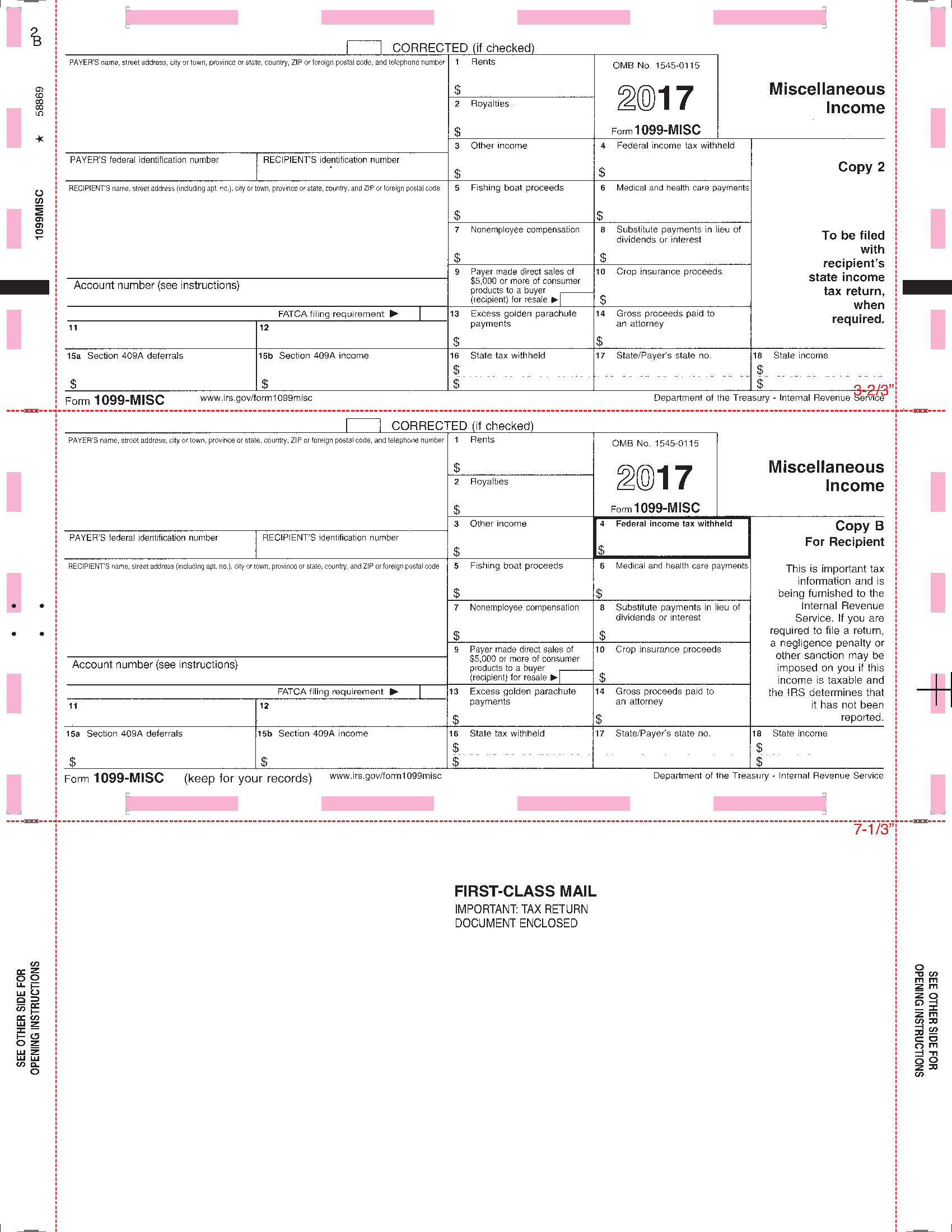 1099 pressure seal tax forms 1099 misc printed face z fold instructions on back 2 around falaconquin