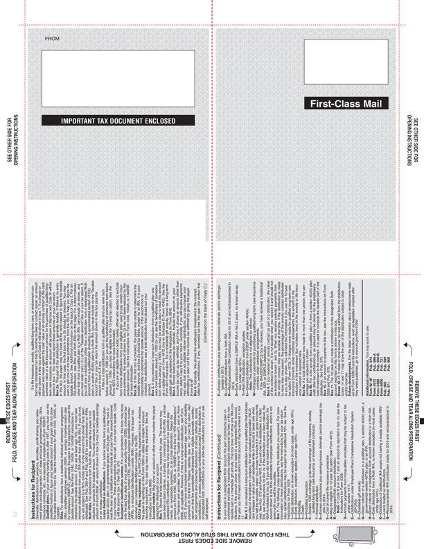 1099 R Blank Face V Fold Instructions On Back 4 Corner