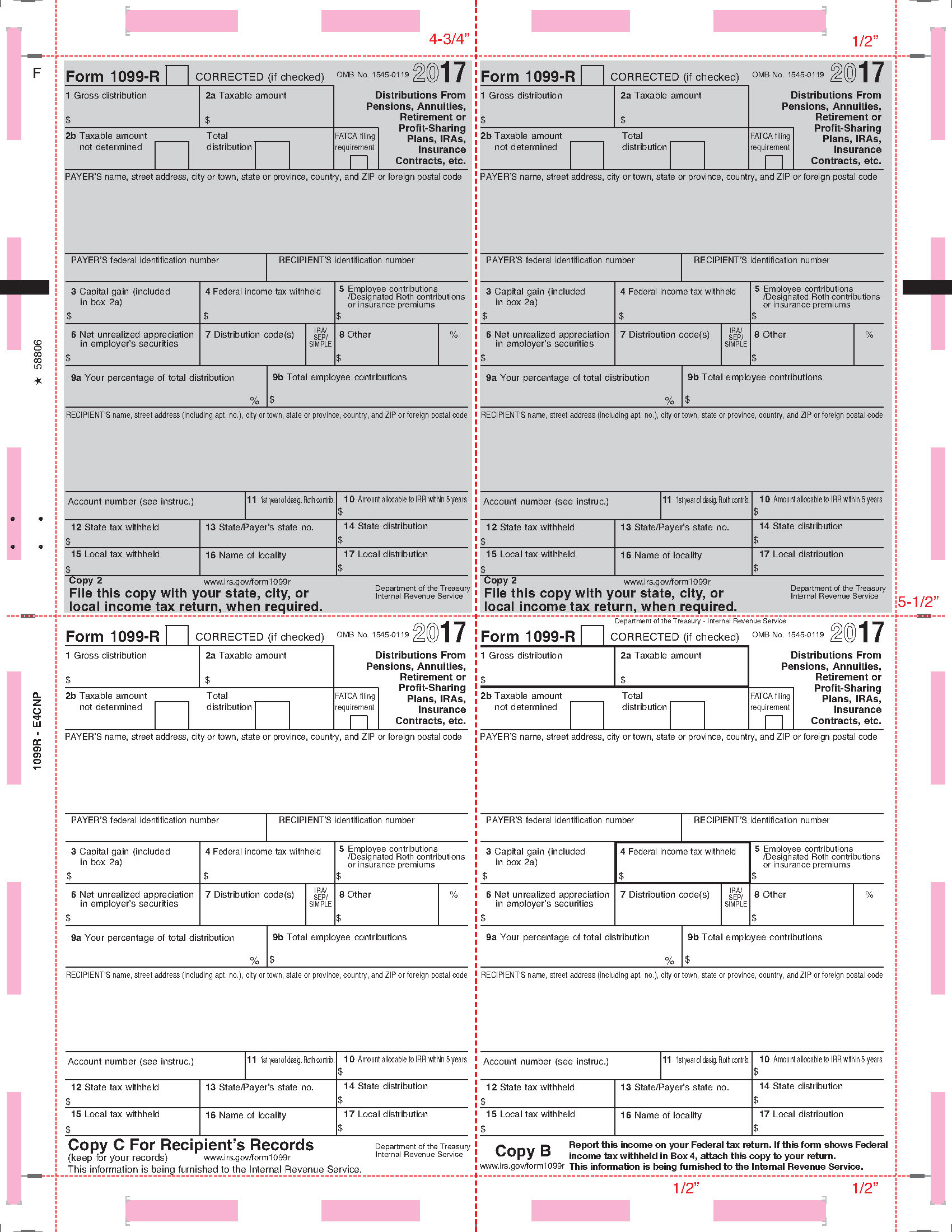 1099 pressure seal tax forms 1099 r printed face v fold instructions on back 4 corner falaconquin