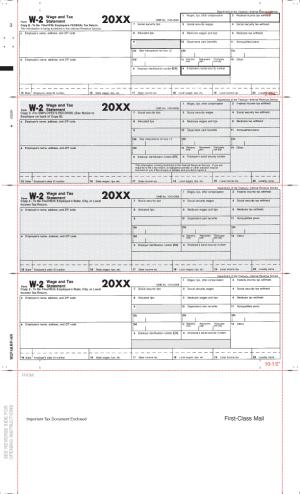 W-2 Pressure Seal Tax Forms