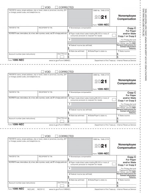 Form 1099-NEC Copy C - NECLMCLM2 2021