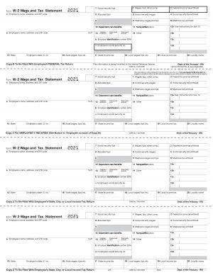 Form W-2 4-Up Horizontal - L87 2021